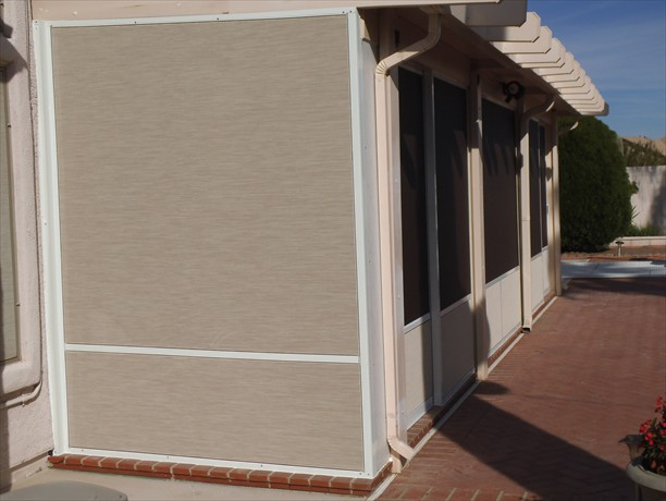 Stucco screen with white frame