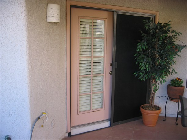 Opened french doors